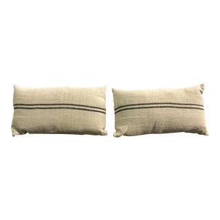 Rectangle French Linen Grain Sack Style Pillows - A Pair