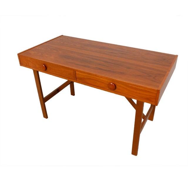 Danish Modern Compact Teak Two Drawer Desk - Image 3 of 6
