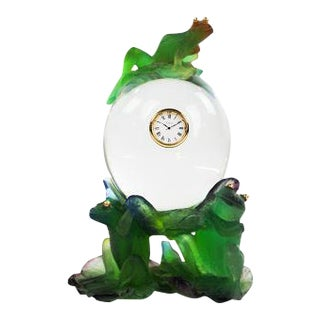 Daum Clock, Frog on Crystal Lily Pad