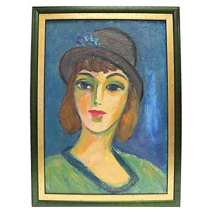 Mid-Century French Oil Portrait Of A Woman - Image 1 of 2