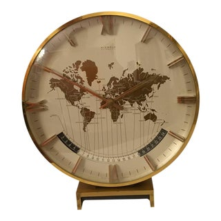 Large Mid-Century Modernist Table World Clock by Kienzle
