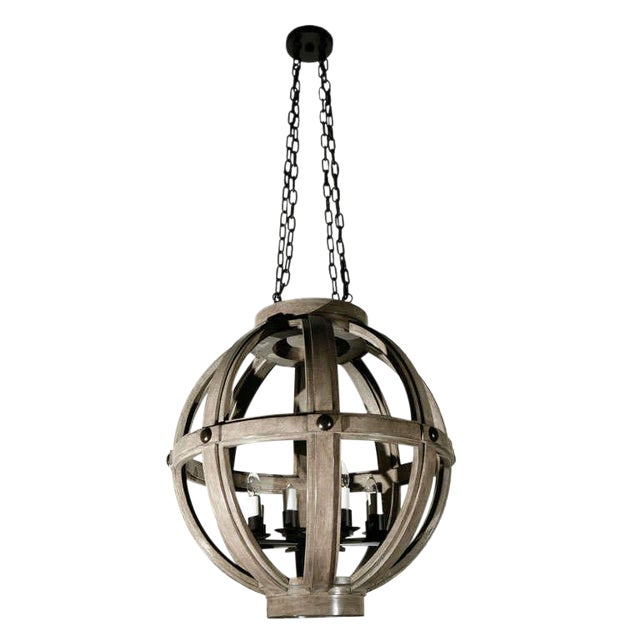 Customizable Paul Marra Large Carved Sphere Chandelier - Image 1 of 8