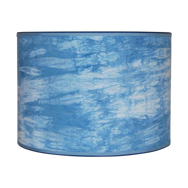 Image of Hand Dyed Blue Shibori Lampshade