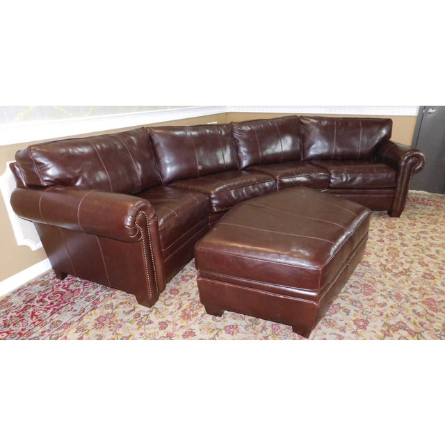 3 Piece Bernhardt Brown Leather Sectional Sofa Amp Ottoman