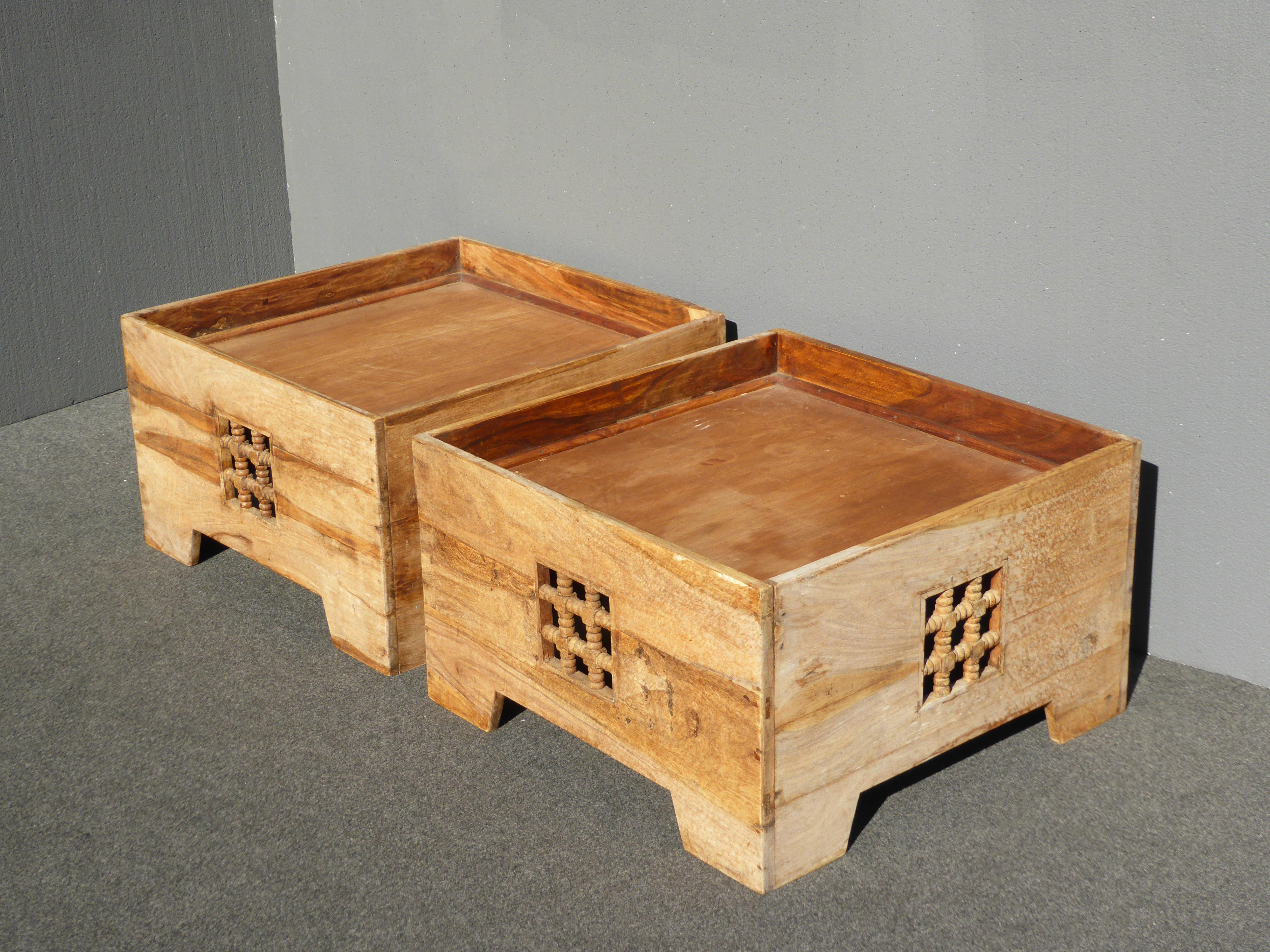Teak Asian Style Boxes Coffee Table End Tables   A Pair   Image 2 Of 11