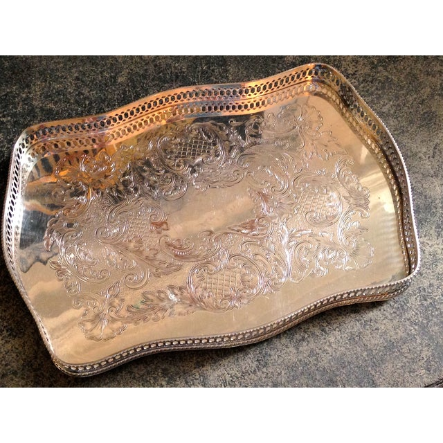 Antique English Sheffield Silver Gallery Tray - Image 2 of 4