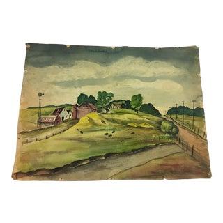 Beautiful Watercolor of an Upstate New York Farm