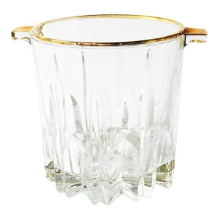 Vintage Crystal Ice Bucket with Gold Rim