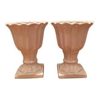 White Ceramic Urn Planters - A Pair
