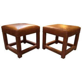 Leather Parsons Low Stools - A Pair
