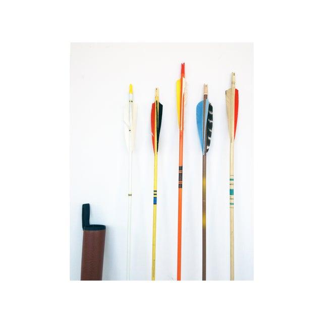 Vintage Wood Arrows & Quiver- Set of 5 - Image 3 of 5
