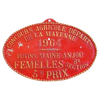 Vintage French Prize Trophy Award Plaque, 1964