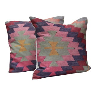 A Pair of Diamond Pattern Kilim Inspired Print Pillows - 16""