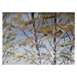 Image of Birch Trees Oil Painting