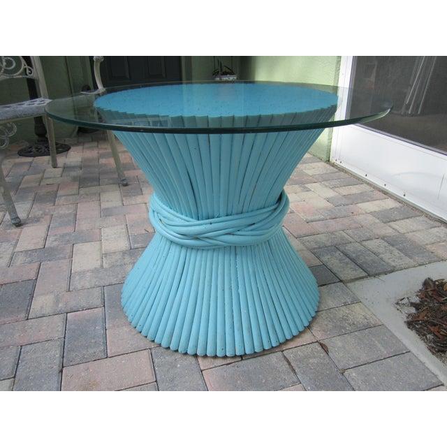 Vintage Sheaf of Wheat Blue Rattan Table Base - Image 9 of 11