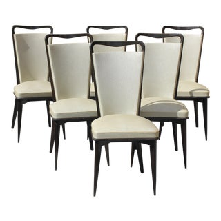 French Art Deco Solid Macassar ebony Dining Chairs Circa 1940s - Set of 6