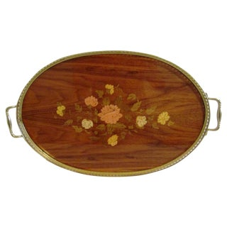Italian Floral & Brass Marquetry Tray