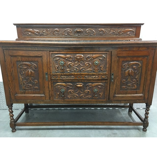 Antique Carved Wood Buffet - Image 7 of 10
