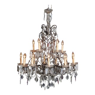 19th Century Italian 18-Light Crystal Chandelier