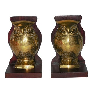 Mid-Century Brass and Rosewood Owl Bookends - Pair
