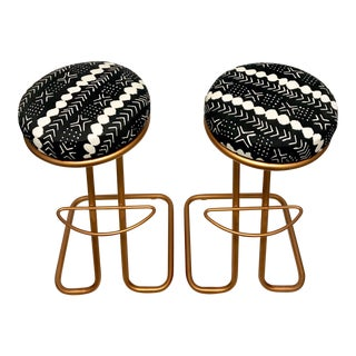 Metallic Rust Bar Stools - A Pair