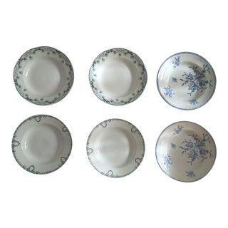 Antique Blue & White Dinner Plates - Set of 6