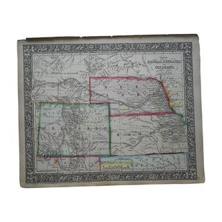 Antique Map of Kansas, Nebraska, Colorado & Dakota