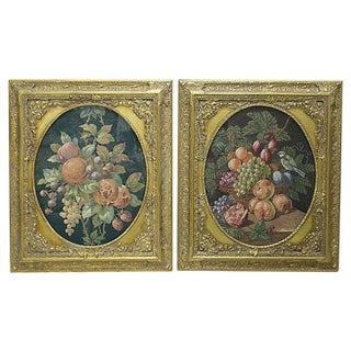 Framed Fruit Tapestries - A Pair