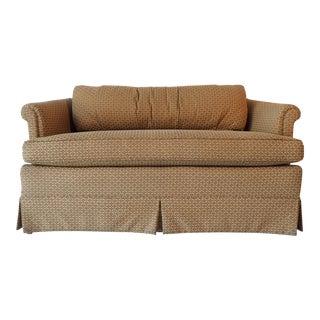 Low-Back Upholstered Mahogany Frame Settee