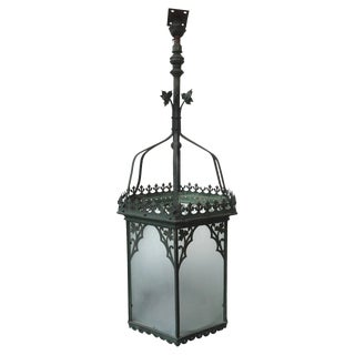 19th Century Painted English Gothic Hall Lantern