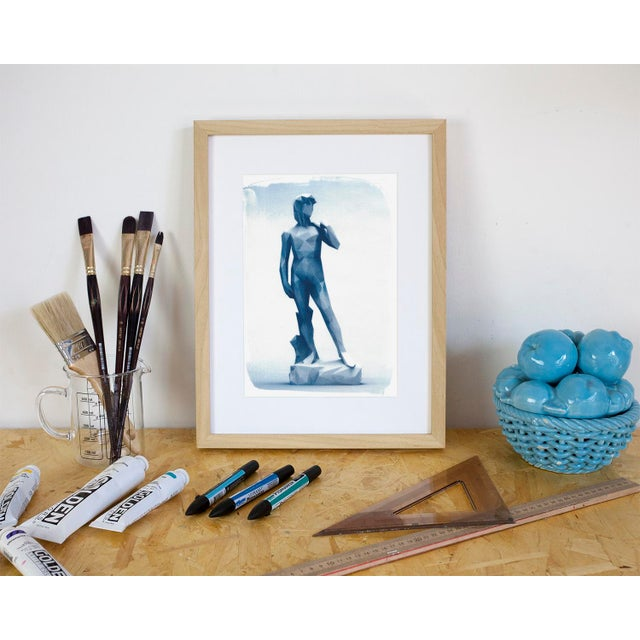 Michelangelo's David Low-Poly Sculpture, Cyanotype Print on Watercolor Paper - Image 3 of 4