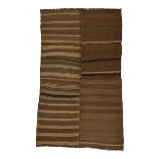 Vintage Turkish Kilim Striped Brown Wool Rug - 5′10″ × 9′4″