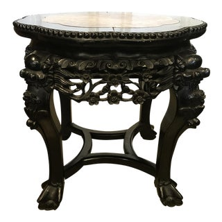 C. 1880 Asian Antique Carved Rosewood & Marble Top Side Table