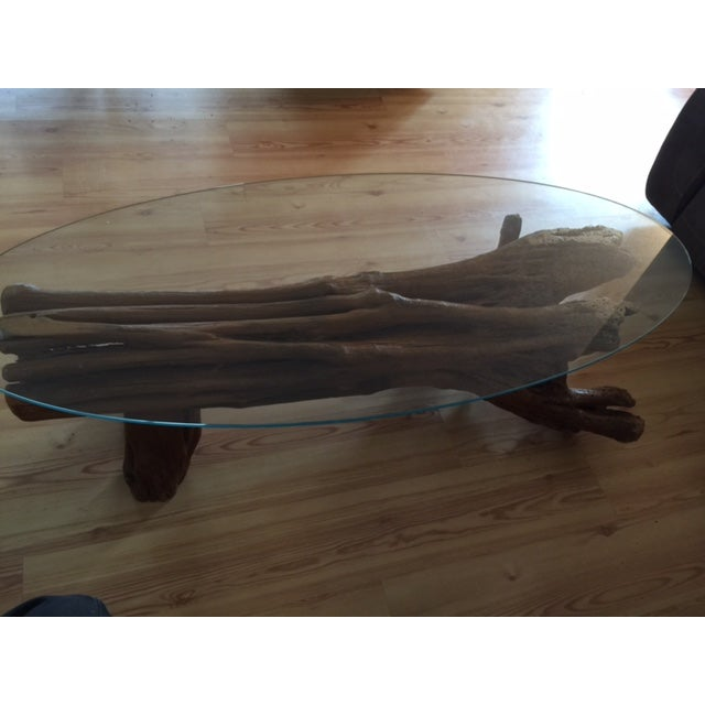Driftwood Base Coffee Table With Glass Top Chairish