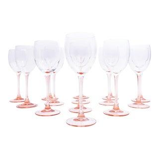 Vintage Pink Stem Wine/Champagne Glasses - Set of 14