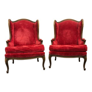 Baker French Wingback Chairs Red Velvet - a Pair