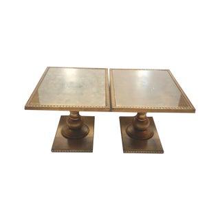 Gold Leaf Hollywood Regency Side Tables-A Pair