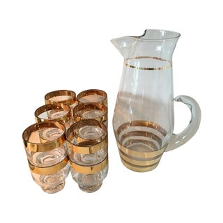 Hollywood Regency Glass Pitcher and 12 Glasses