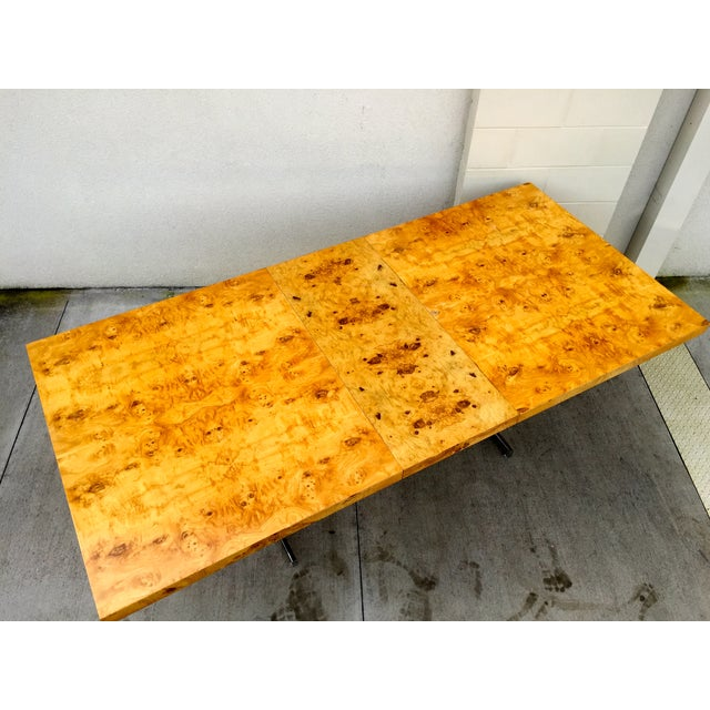 Burl Wood & Chrome Dining Table - Image 4 of 11