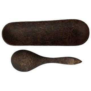 Black Palm Wood Spoon & Tray