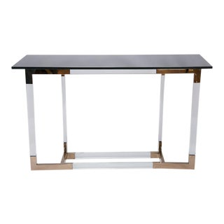 Lucite and Brass Console Table by Charles Hollis Jones
