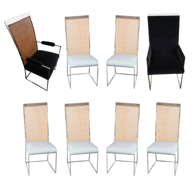 Set of Eight Milo Baughman Chrome and Cane Back Dining Chairs - Image 1 of 10