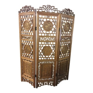 Vintage Asian Solid Hand-Carved Trifold Screen