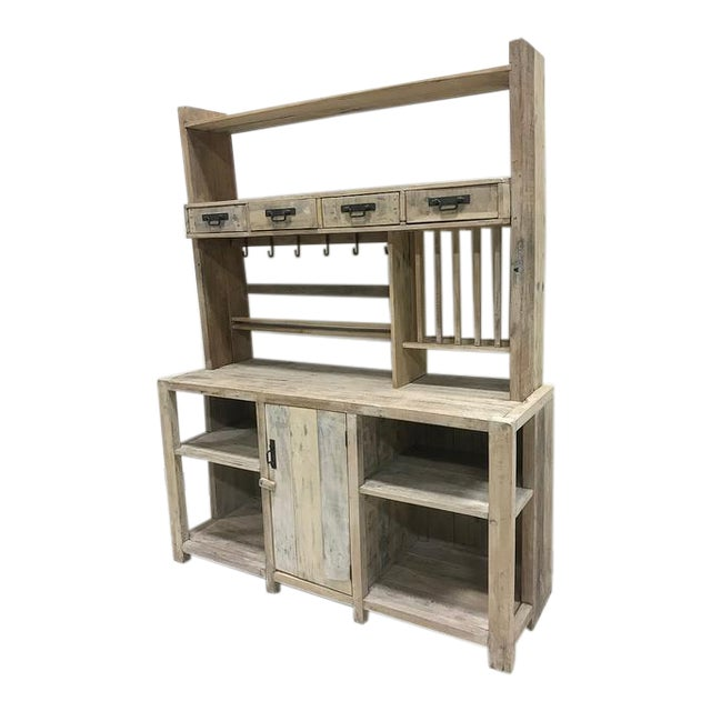 White Washed Barn Wood Style Hutch Cabinet - Image 1 of 3