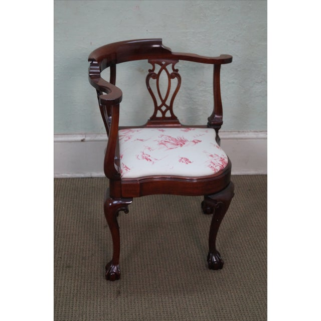 Southwood Chippendale Style Claw Foot Corner Chair - Image 2 of 10