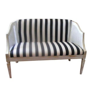 Cane Upholstered Settee