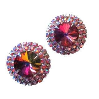 Rose Red Rivoli Crystal Clip Earrings 1960s