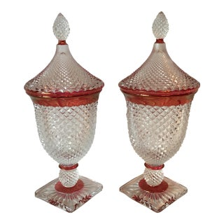 Traditional Pressed Glass Jar & Lid - A Pair