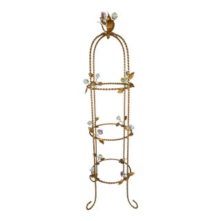 Vintage Italian Gilt Hand Painted Rose Petal Accented Etagere