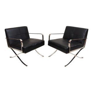 Modern Italian Leather & Chrome Arm Chairs - Pair